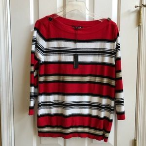 CABLE & GAUGE Button-Neck Detail Sweater, Sz XL